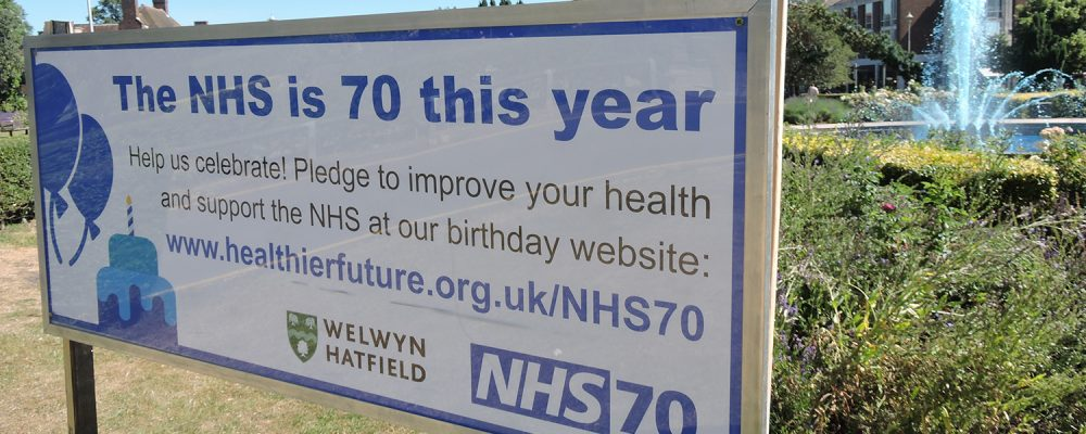 Fountain goes blue for NHS 70th birthday pledge campaign - Herts Urgent Care